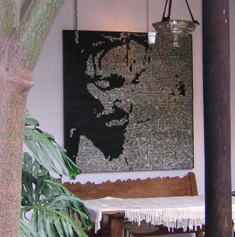 """CRISTO ONE – 2006 - Guatemalan coins and stainless steel nails on four black stained boards  - 68"""" x 68"""""""
