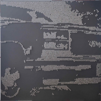 "FRANCES 2013 -  Metal star charms on stainless steel nails on black wood panel- 48""X48"" - US$7900"