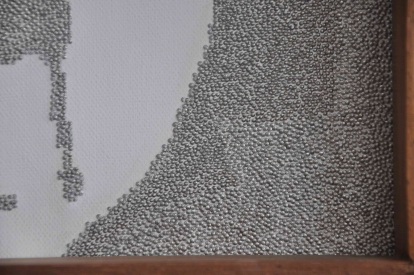 """CLO IN PINS DETAIL OF FRONT– 2009 - Stainless steel straight pins on stretched canvas in caoba frame – 15"""" x 15"""" x 2¼"""""""