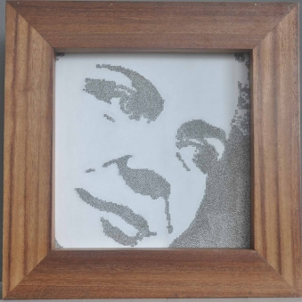 """CLO IN PINS – 2009 - Stainless steel straight pins on stretched canvas in caoba frame – 15"""" x 15"""" x 2¼"""""""