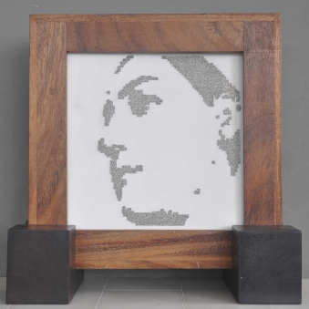 """MARIA IN PINS – 2009 - Stainless steel straight pins on stretched canvas in caoba frame – 12"""" x 12"""" x 2¼"""""""
