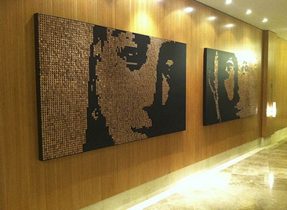 "PENNY VIRGIN ONE & TWO – 2011 – Trump Towers Ocean Club – Panama - US pennies and stainless steel nails on wood panel – 89.5"" x 50"""