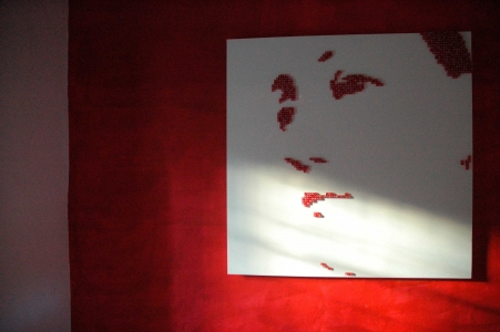 "VIRGIN DE LAS VEGAS – 2006  - Red casino dice on white lacquered panel – 95"" x 71"""