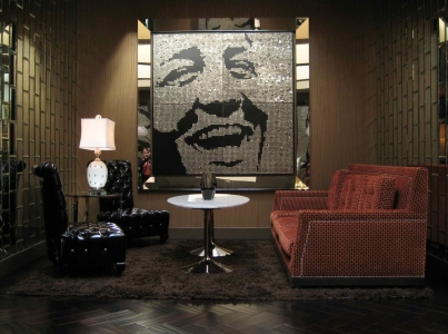 "DEAN – 2008 – HOTEL RIVIERA - Palm Springs, California - Guatemalan coins and stainless steel nails on four black stained boards  - 80"" x 80"""