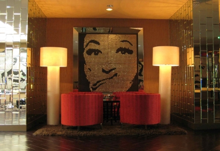 "PHYLLIS – 2008 – HOTEL RIVIERA - Palm Springs, California - Guatemalan coins and stainless steel nails on four black stained boards  - 80"" x 80"""