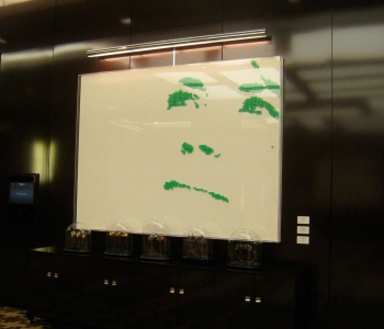 "IRENE IN GREEN DICE – 2011 - Cosmopolitan Hotel – Las Vegas - Casino dice on white lacquered panel – 95"" x 71"""