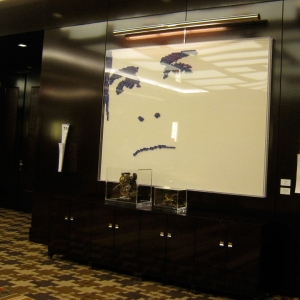 "EDUARDO IN BLUE DICE – 2011 - Cosmopolitan Hotel – Las Vegas - Casino dice on white lacquered panel – 95"" x 71"""
