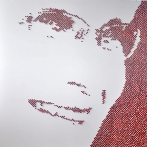 "MOM – 2013 - Red shell hearts and stainless steel nails on white lacquered board - 60"" x 60"" - N/A"